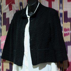 EILEEN FISHER Solid Black Nubby Short Jacket